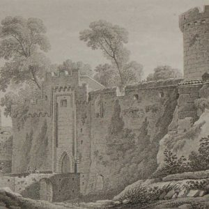 Aquatint from 1817 by the famous Austrian engraver Benedict Piringer, titled, Vue de la principale entrée du Chateau de Clisson