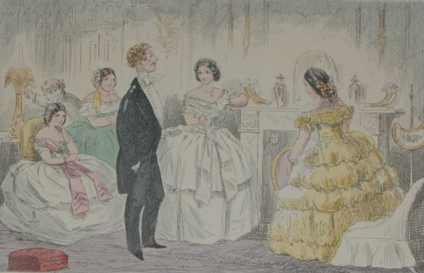 1858 original antique hand coloured steel engraving after John Leech titled Fine Billy Quite at Home