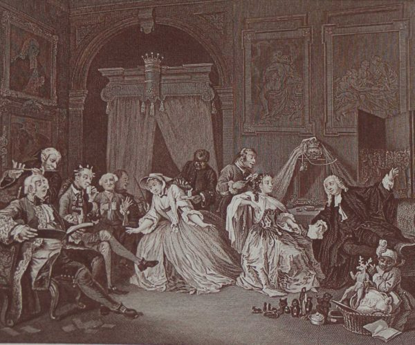 Antique print an engraving after William Hogarth. The engraving is titled Marriage a la Mode Toilette Scene