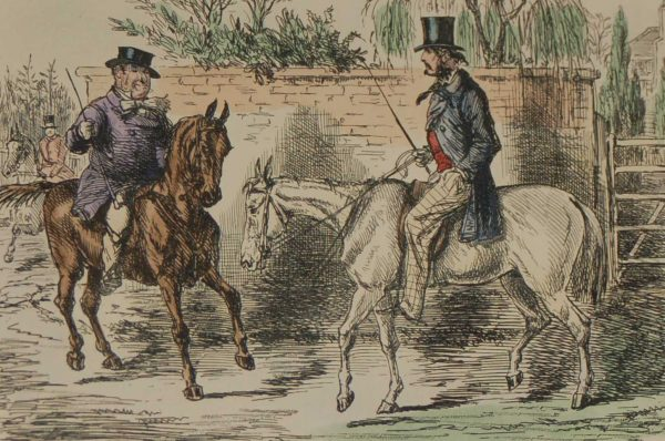 1898 antique hand coloured steel engraving after John Leech titled Mr Bunting Rejected