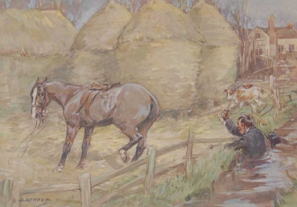 Vintage 1935 colour print by G D Armour ( George Denholm Armour 1864 to 1949), the print is titled Plate III- Hints to Beginners