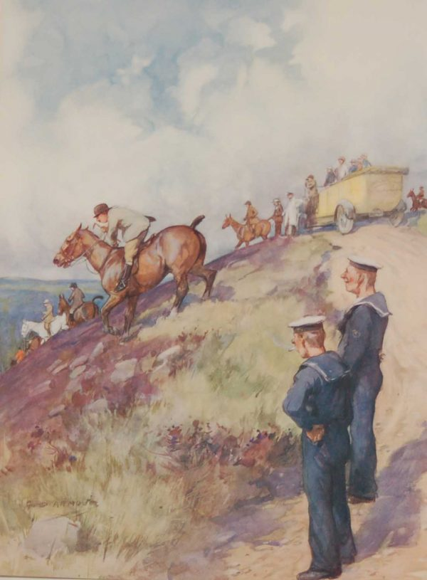 Vintage 1935 colour print by G D Armour ( George Denholm Armour 1864 to 1949), titled Plate XII- With the Devon and Somerset