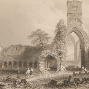 1841 Antique Steel engraving of the Abbey of Sligo, Ireland. The print, engraved by J Carter & is after a drawing by William Bartlett.