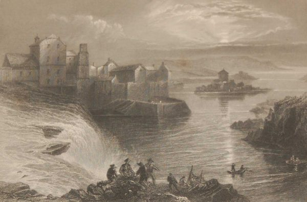 1841 Antique Steel engraving of Ballyshannon Donegal, Ireland. The print, engraved by J T Willmore & is after a drawing by William Bartlett.