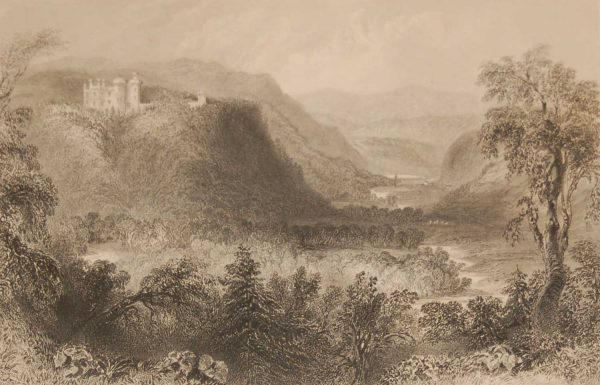 1841 Antique Steel engraving of Castle Howard Vale of Avoca, Wicklow. The print was engraved by S Bradshaw and is after a drawing by William Bartlett.