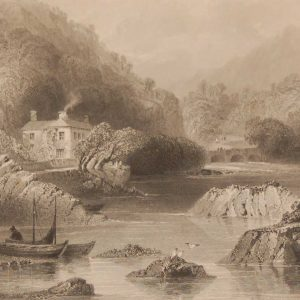 1841 Antique Steel engraving of the Glengariff Inn, Cork, Ireland. The print was engraved by J C Bentley and is after a drawing by William Bartlett.