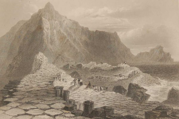 1841 Antique Steel engraving titled Scene at Giants Causeway, County Antrim, Ireland. The print was engraved by R Wallis, is after a drawing by William Bartlett.