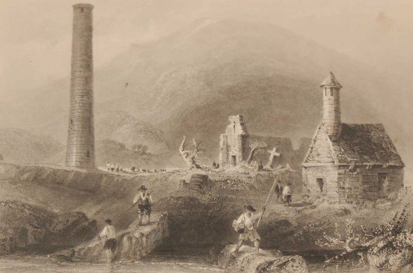 1841 Antique Steel engraving of the Round Tower, Glendalough, Ireland. The print was engraved by J C Bentley & is after a drawing by William Bartlett.