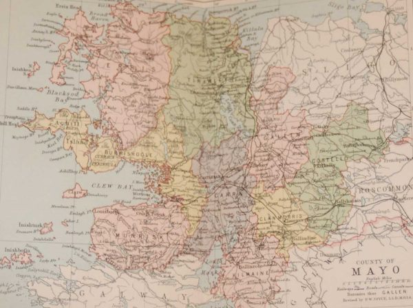1881 Antique Colour Map of The County of Mayo printed by George Philips, with the map constructed by John Bartholomew and edited by P. W. Joyce.