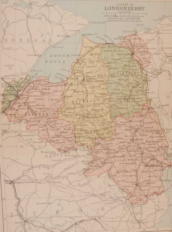 1881 Antique Colour Map of The County of Derry printed by George Philips, with the map constructed by John Bartholomew and edited by P. W. Joyce.