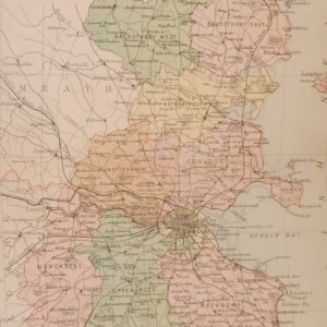 1881 Antique Colour Map of The County of Dublin printed by George Philips, with the map constructed by John Bartholomew and edited by P. W. Joyce.