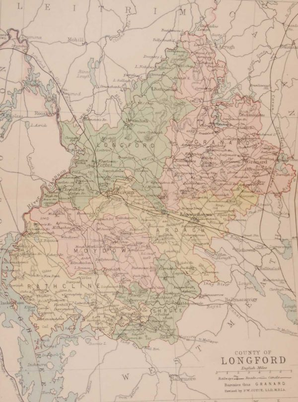 1881 Antique Colour Map of The County of Longford printed by George Philips, with the map constructed by John Bartholomew and edited by P. W. Joyce.