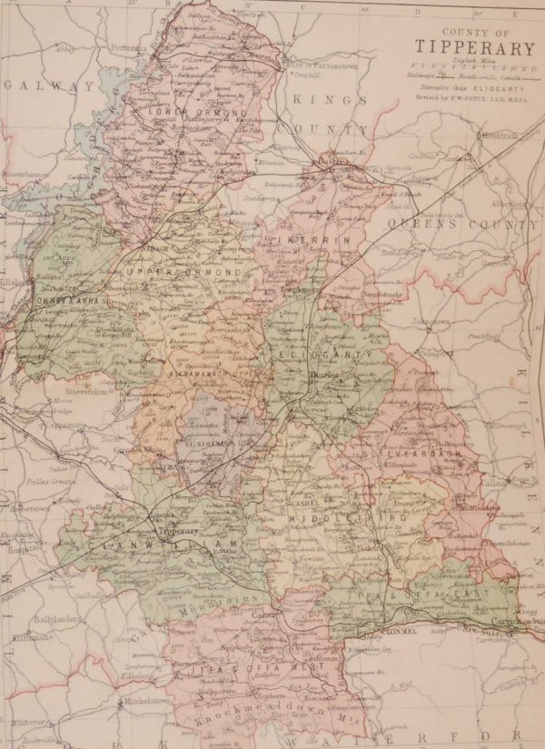 1881 Antique Colour Map of The County of Tipperary printed by George Philips, with the map constructed by John Bartholomew and edited by P. W. Joyce.