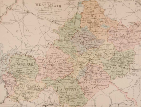 1881 Antique Colour Map of The County of Westmeath printed by George Philips, with the map constructed by John Bartholomew and edited by P. W. Joyce.