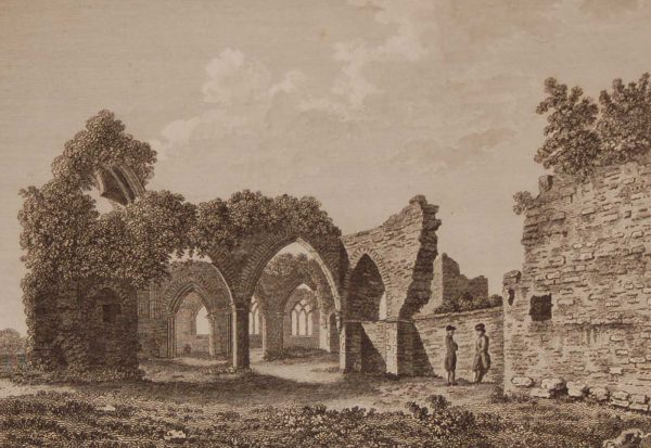 1797 antique print a copper plate engraving of the Abbey of Castledermot, County Kildare, Ireland.
