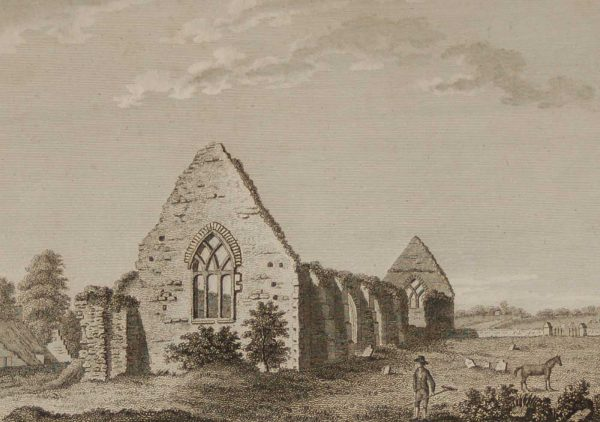 1797 antique print a copper plate engraving of Gray Abbey, County Down, Ireland.