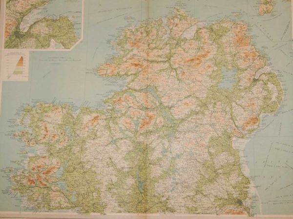 Large vintage map from 1922 of Ireland North, the map shows Ireland north from the top of Dublin and part Kildare, featuring Louth, Meath, Longford, Roscommon, Galway , Leitrim, Donegal, Derry , Tyrone, Down, Antrim, Armagh, Cavan and Monaghan.