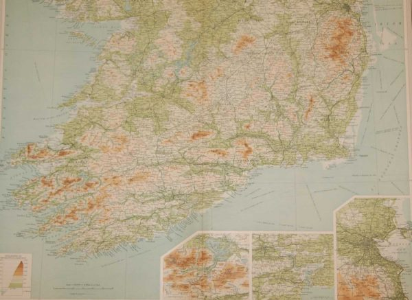 Large vintage map from 1922 of Ireland, the map shows Ireland south of Dublin and was done by John Bartholomew.
