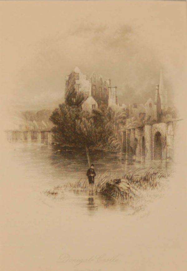 1838 Antique print a steel engraving of Donegal Castle. The print was engraved by E Radclyffe and is after a drawing by Thomas Creswick.