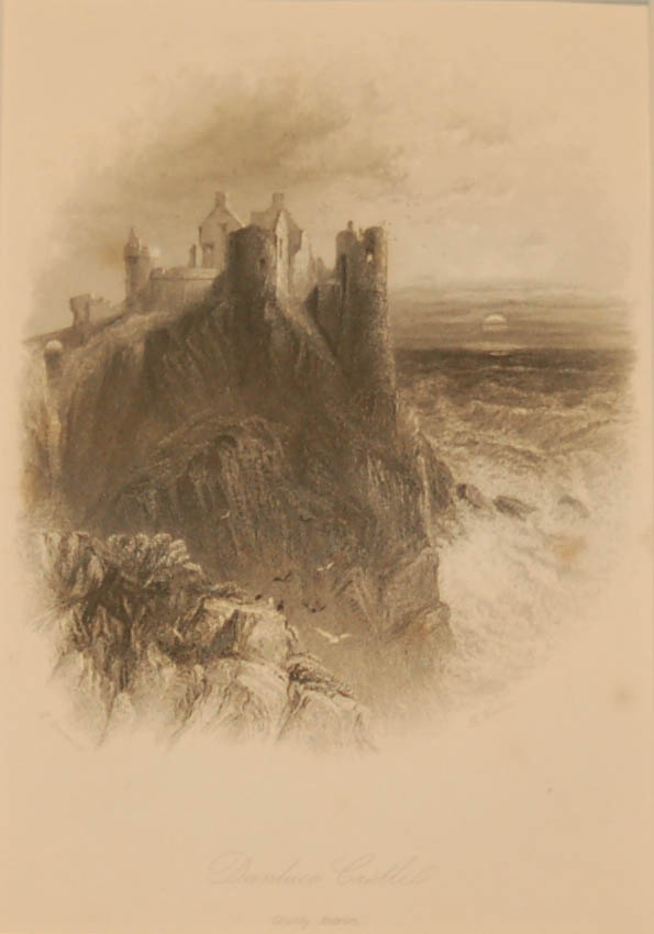 1838 Antique print a steel engraving of Dunluce Castle in County Antrim. Dunluce Castle is also well known as a location from Game of Thrones.
