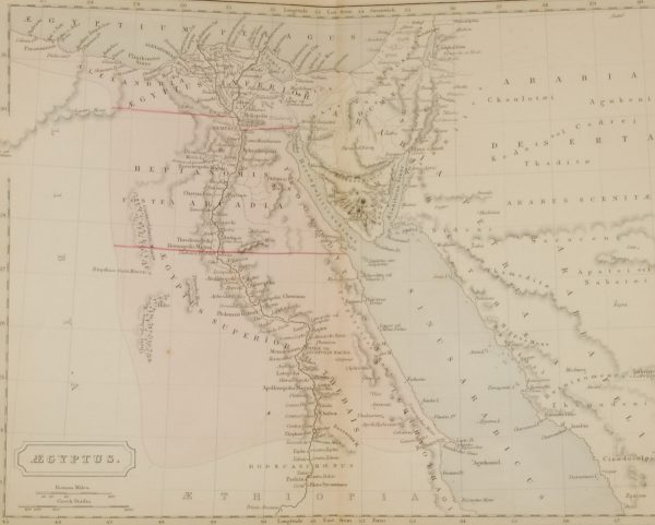 1851 antique map titled Eygptus ( Eygpt) with measurements in Roman miles and Greek Stadia,