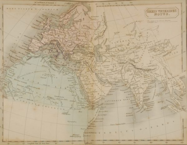 1851 antique map titled Orbis Veteribus Notus ( The Known World) and highlighting the Roman Empire. The map shows from western Europe, Ireland, across through mainland Europe and into Asia.
