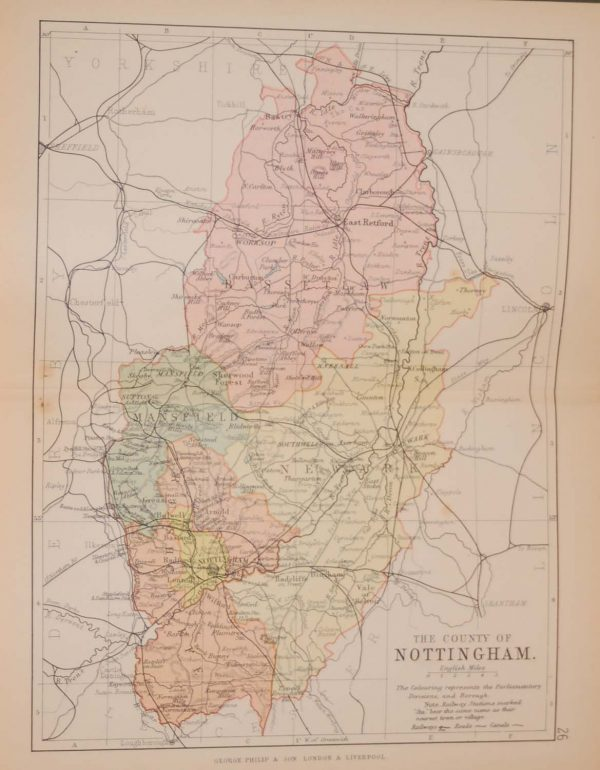 Antique colour map of the County of Nottingham, printed in 1895, maps by George Philips based in London & Liverpool.