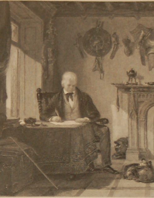 Antique print, Victorian, an engraving published in 1840 after a painting by W Allan A.R.A. titled The Author of Waverly in his study.