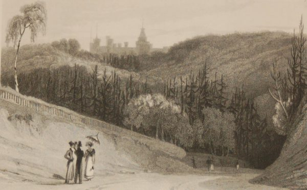 Antique print, Victorian, an engraving published in 1840 after a painting by W Daniel R.A. titled Bridge Castle the seat of the Earl of Abergavenny. The work was engraved by W Graham.