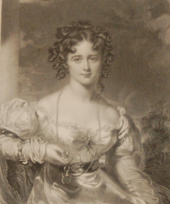 Antique print, Victorian, an engraving published in 1840 after a painting by T Laurence titled Miss Croker. The work was engraved by Thompson.