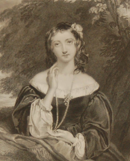 Antique print, an engraving published in 1840 after a painting by Miss L Sharpe titled The Soldiers Bride.