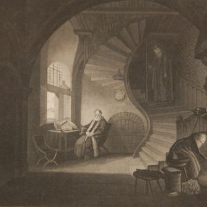 Antique print, an engraving published in 1840 after Rembrandt's painting the Philosopher. The work was engraved by W Read.