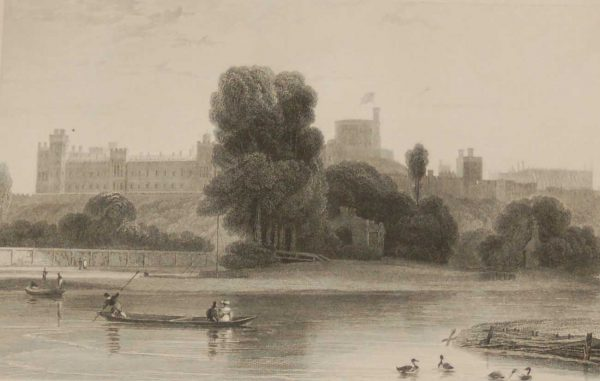 Antique print, Victorian, an engraving published in 1840 titled Windsor Castle. The work was engraved by C Armytage.