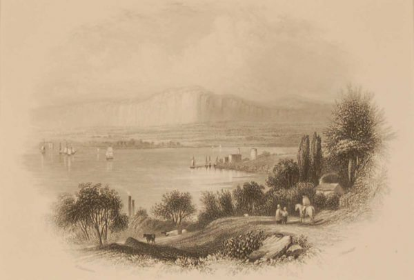 1850 antique print a steel engraving of Lough Foyle in County Derry. The print was engraved by J Hinchcliffe and is after a drawing by H Gastineau.