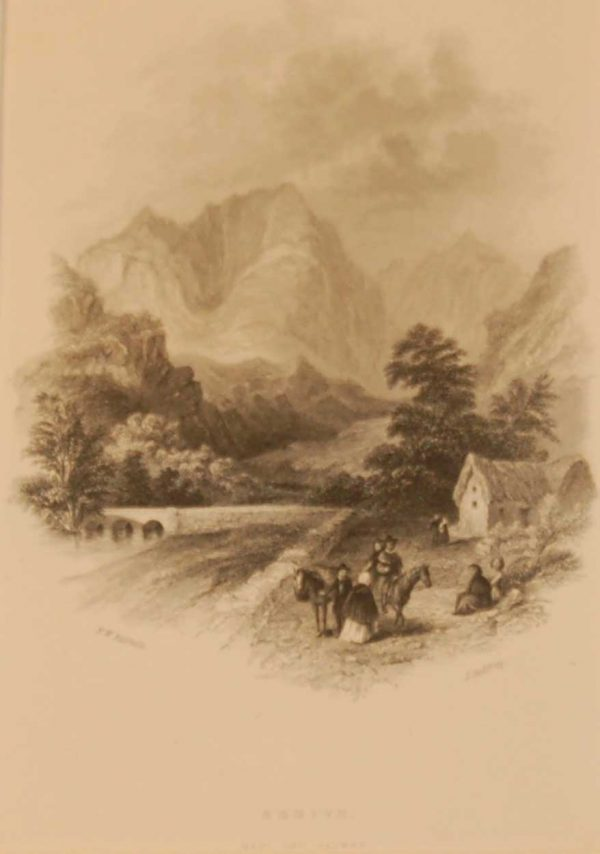 1850 antique print a steel engraving of Errive the gateway into Connemara from Mayo as you go through to Galway. The print was engraved by J Godfrey and is after a drawing by F W Fairholt.
