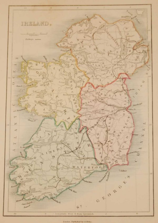 Antique colour Map of Ireland circa 1850, the map was engraved by A Adlard and published by Hall and Virtue in London.