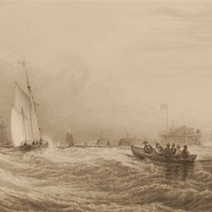 Fort Rouge Calais, antique print, Victorian an engraving from circa 1880 after the original painting by David Cox the Elder.