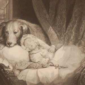 Keeping Guard, antique print, Victorian, an engraving from circa 1880 after the original painting by T Woolnoth.