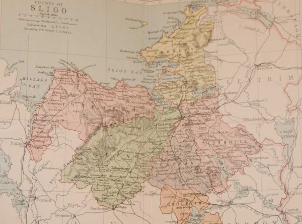 1881 Antique Colour Map of The County of Sligo printed by George Philips, with the map constructed by John Bartholomew and edited by P. W. Joyce.