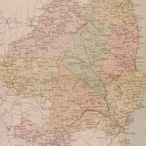 1881 Antique Colour Map of The County of Wicklow printed by George Philips, with the map constructed by John Bartholomew and edited by P. W. Joyce.