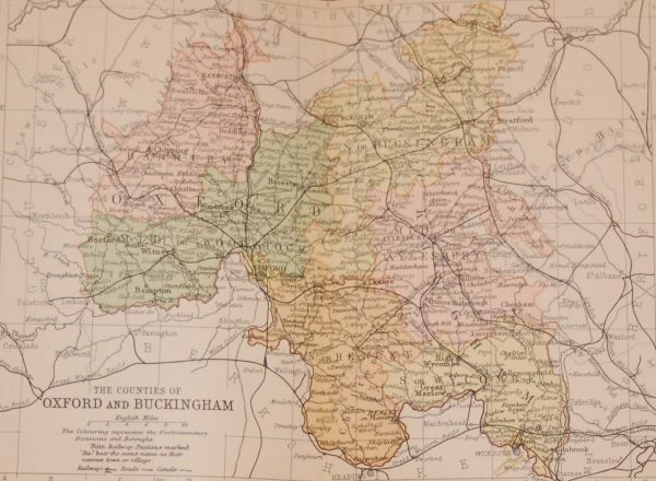 Antique colour map of the Counties of Oxford and Buckingham, printed in 1895, maps by George Philips based in London & Liverpool.
