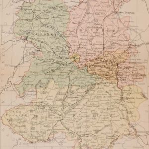 Antique colour map of the County of Shropshire, printed in 1895, maps by George Philips based in London & Liverpool.