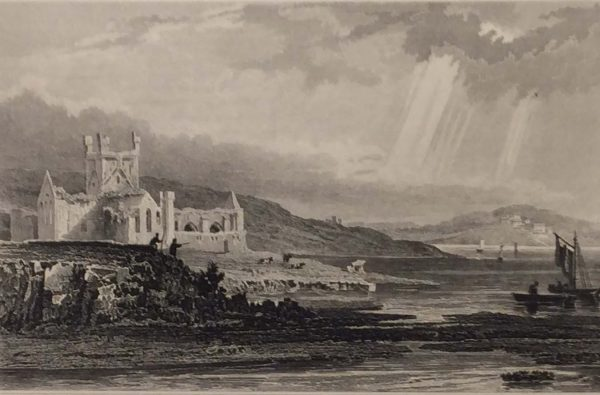 Antique print from 1832 of Dunbrody Abbey, County Wexford, Ireland. The print was engraved by Henry Winkles and is after a drawing by William Bartlett.