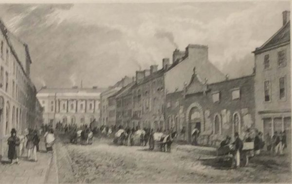 Original antique print from 1832 of The Green Linen Market and Commercial Buildings, Donegal Street Belfast, County Antrim, Ireland.  The print was engraved by W Miller and is after a drawing by T M Baynes.