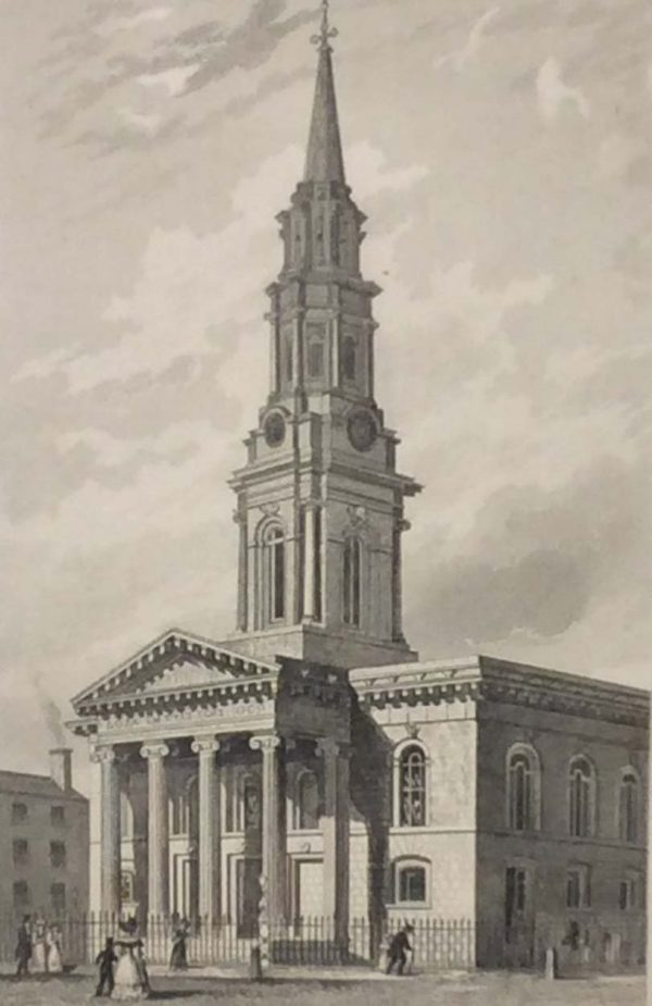 Antique print from 1832 of St George's Church in Dublin, Ireland. The print was engraved by Henry Winkles and is after a drawing by William Bartlett.