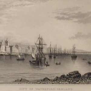 1832 antique print waterford city ireland
