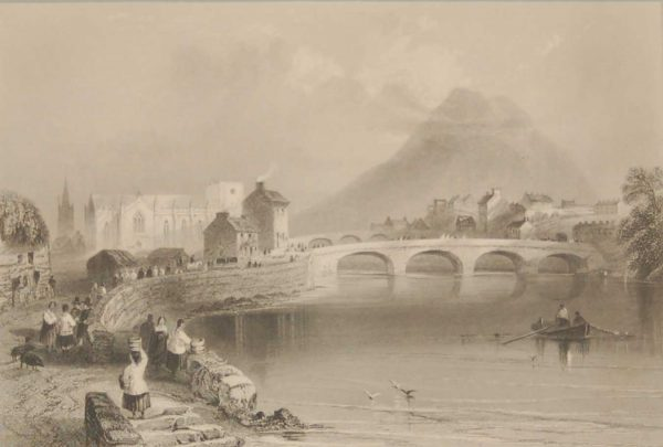 1850 antique print a steel engraving of Ballina County Mayo. The print was engraved by H Griffiths and is after a drawing by W H Bartlett.