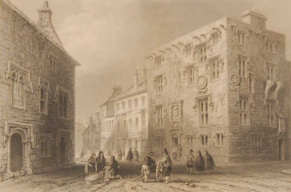 1850 antique print a steel engraving titled Street in Galway. The print was engraved by T Higham and is after a drawing by W H Bartlett.
