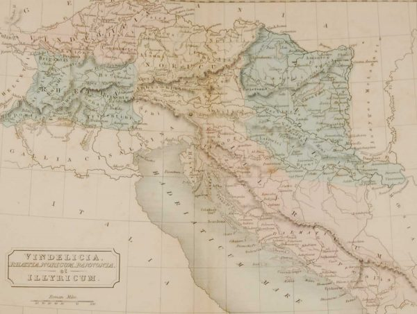 1851 antique map of the Roman provenance of Vindelicia et Illyricum which is an area that now is spread across a number of countries including, Germany, Switzerland and Croatia.