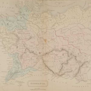 1851 antique map of Germania, Germania was a Roman Provence that contained Germany as well as parts of Holland, Belgium and Luxembourg.